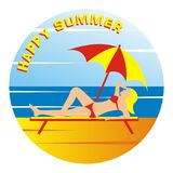 Happy summer, woman on beach deck and parasol. Vector icon. Banner with text happy summer Royalty Free Stock Images
