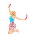 Happy summer woman jumping Stock Images