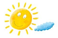 Happy Sun. Acrylic illustration of happy sun Stock Photography