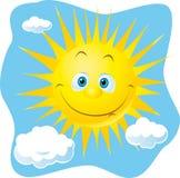 Happy sun. Happy yellow sun on blue sky Stock Photography