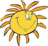 Happy sun. The great yellow Sun smiling stock illustration