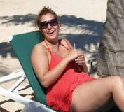 Happy sun bather. royalty free stock image