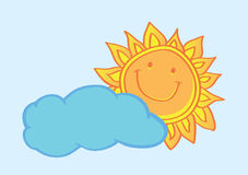 Happy Sun Behind Cloud Cartoon Vector Illustration Royalty Free Stock Images