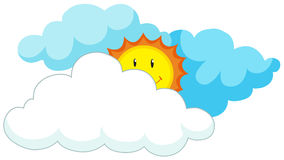 Happy sun behind the clouds. Illustration Royalty Free Illustration