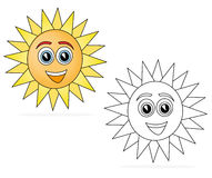 Happy sun cartoon. Colored happy sun cartoon isolated on white. The black & white cartoon sketch is useful for coloring book pages for kids Stock Image