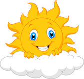Happy sun cartoon behind the cloud Stock Photos