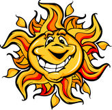 Happy Sun Cartoon with a Big Smile. Cartoon Illustration of a Happy Smiling Summer Sun Stock Images