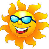 Happy sun cartoon character Stock Photos