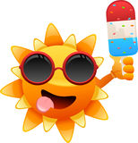 Happy sun character with ice cream Royalty Free Stock Images