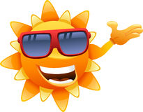 Happy sun character showing Royalty Free Stock Images