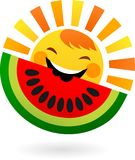 Happy sun eating slice of watermelon Stock Images
