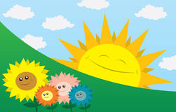 Happy Sun with Flowers. Large sun smiling sideways with flowers in the foreground Royalty Free Stock Photography