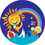 Happy sun holding ice cream on blue Stock Images