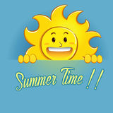 Happy Sun Holding Summer Time Sign Stock Photos