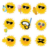 Happy sun icons Royalty Free Stock Image