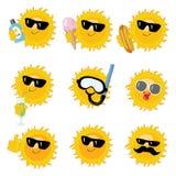 Happy sun icons Royalty Free Stock Image