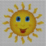 Happy sun image knit generated texture Stock Images