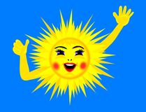 Happy sun. Happy, laughing and waving sun royalty free illustration