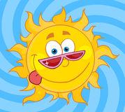 Happy sun mascot cartoon character with shades Royalty Free Stock Photography