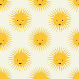 Happy sun pattern. Childish seamless pattern design with smiling sun icons Royalty Free Stock Photography