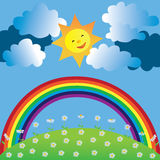 Happy sun and rainbow. Happy sun with rainbow and clouds Royalty Free Stock Photography