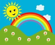 Happy sun with rainbow and clouds Stock Photography