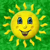 Happy sun relief painting on generated marble texture background Stock Photography