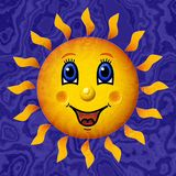 Happy sun relief painting on marble generated texture background Royalty Free Stock Photo