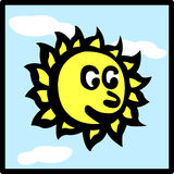 Happy sun in the sky vector illustration Royalty Free Stock Photos