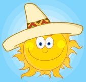 Happy sun with sombrero hat Stock Photography