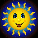 Happy sun on star sky Stock Image