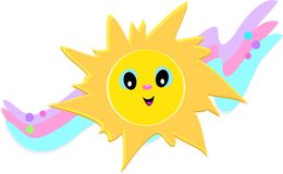 Happy Sun with Stars and Bubbles Royalty Free Stock Images