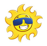 Happy Sun wearing glasses Stock Photo