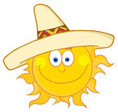Happy sun wearing a sombrero Royalty Free Stock Image