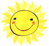 Happy sun on white, childlike painting Stock Photo