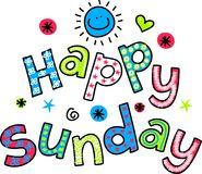 Happy Sunday Cartoon Text Clipart Royalty Free Stock Photos
