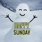 Happy Sunday Word. Word `Happy Sunday` with smiling snowman blurred background Stock Image