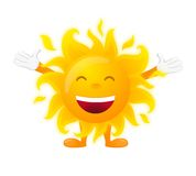 Happy sunny character isolated on white background Stock Photo