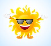 Happy sunny character in sunglasses Stock Images
