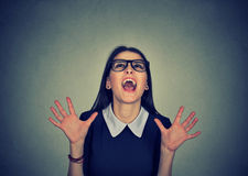 Happy super excited woman shouting royalty free stock photos