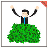 Happy super rich set successful businessman raising from huge green Stock Images