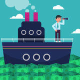 Happy super rich successful businessman sails on a ship by sea from huge green money bills.  Royalty Free Stock Photos