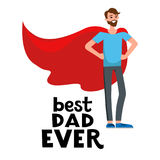 Happy superdad cartoon. Cartoon characters of family. Dad and his son celebrating father s Day. The boy is proud his father. Inscription Dad is my hero Royalty Free Stock Photo