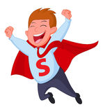 Happy superhero businessman fly vector illustration