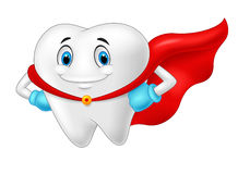 Happy superhero healthy tooth cartoon Stock Image
