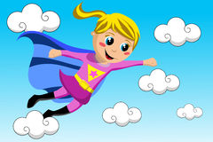 Happy Superhero Kid Flying Sky Stock Photography