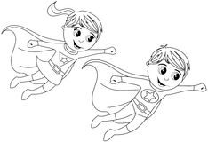 Happy Superhero Kid Kids Flying Isolated Coloring Page Stock Image