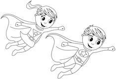 Happy Superhero Kid Kids Flying Isolated Coloring Page. Boy and Girl Superhero kids flying for colouring book isolated white background. Eps file available stock illustration