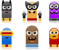 Happy superhero monsters set 2 Stock Photography