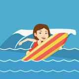 Happy surfer in action on a surf board. Royalty Free Stock Images